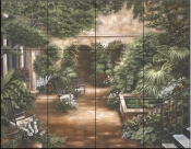 Courtyard in New Orleans II    - Tile Mural