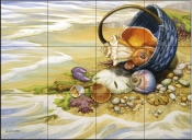 Beachcombers Basket    - Tile Mural