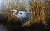 Set in Gold-Great Blue Heron - Tile Mural