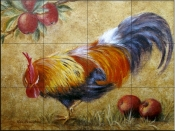 Rooster with Apples 2    - Tile Mural