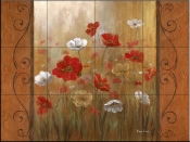 Poppies and Morning Mist I    - Tile Mural