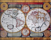 Antique Map Terre Universelle 1594    - Tile Mural