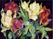 Red and Yellow Parrot Tulips    - Tile Mural