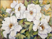 Peonies Dressed In White    - Tile Mural