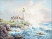 Lighthouse and Surf   - Tile Mural