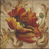 Poppy Damask   - Tile Mural