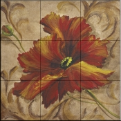 Poppy Damask II   - Tile Mural
