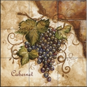 Tuscan Grapes I   - Tile Mural