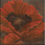Red Poppy I   - Tile Mural