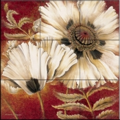 RH-White Poppy   - Tile Mural