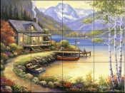Fishing At The Lake    - Tile Mural