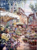 French Flower Market    - Tile Mural