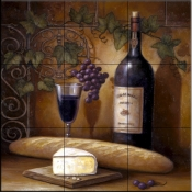 Wine and Cheese B    - Tile Mural