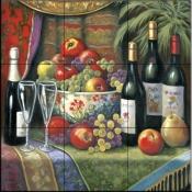 Wine and Floral 1    - Tile Mural