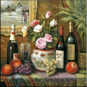 Wine and Floral 3    - Tile Mural