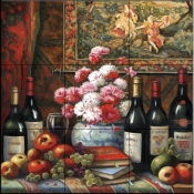 Wine and Floral 4    - Tile Mural