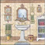Vintage Bathroom I    - Tile Mural