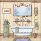 Vintage Bathroom III    - Tile Mural