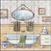 Vintage Bathroom IV    - Tile Mural