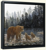 Grizzlies Lesson by the Lake   -Canvas Art Print
