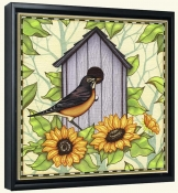 Robin and Sunflowers  -Canvas Art Print