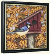 Blue Jay and Leaves  -Canvas Art Print