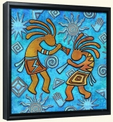 Kokopelli on Blue 1  -Canvas Art Print