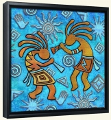 Kokopelli on Blue 2  -Canvas Art Print