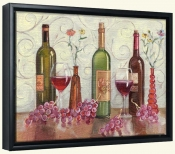 Grapes Wine and a Red Vase-TK-Canvas Art Print