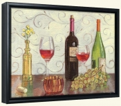 Grapes Wine and a Yellow Vase-TK-Canvas Art Print