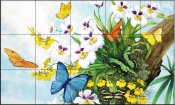 Butterflies and Orchids-NW - Tile Mural