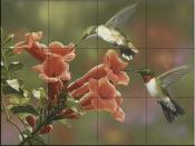 Hummingbirds and Trumpet-WV - Tile Mural