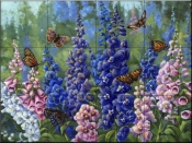 Butterlfy and Delphinium-WM - Tile Mural