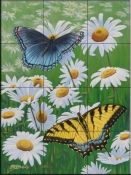 Butterflies and Daisies-FS - Tile Mural