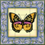 Butterfly Square 6-DF - Tile Mural