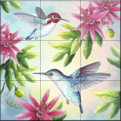 RS-Bee Hummingbirds - Tile Mural
