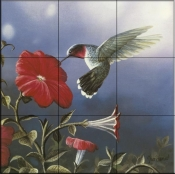 Ruby Throated Hummingbird    - Tile Mural