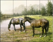 Horses At The Pond    - Tile Mural