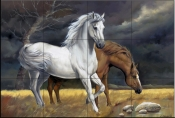 Horses in a Storm    - Tile Mural